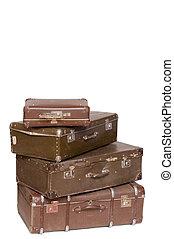vit, gammal, isolerat, hög, suitcases