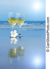 vit, glasögon, två, vin