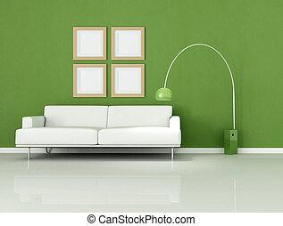 vit, grön, vardagsrum, minimal