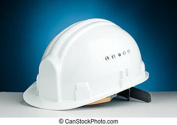 vit, hård hatt, på, blå