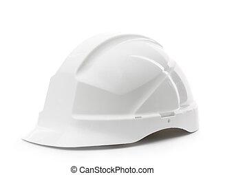 vit, hård hatt