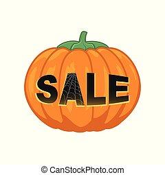 vit, halloween, försäljning, bakgrund, pumpa