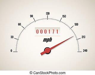 vit, hastighetsmätare, bakgrund