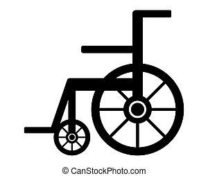 vit, hjul stol, bakgrund