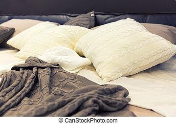 vit, hotell, kuddar, säng