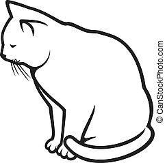 vit, -, illustration, katt
