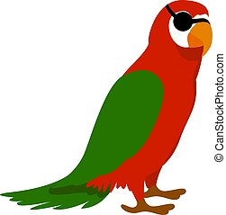 vit, illustration, papegoja, vektor, sjörövare, bakgrund.