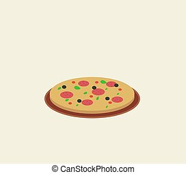 vit, illustration, vektor, pizza, bakgrund.