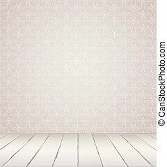 vit, inre, av, årgång, rum, från, grå, grunge, tapet, vägg, och, gammal, trä, floor., vektor, illustration, eps, 8