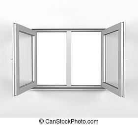 vit, insida, fönster, öppnat
