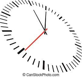 vit, isolerat, bakgrund, klocka