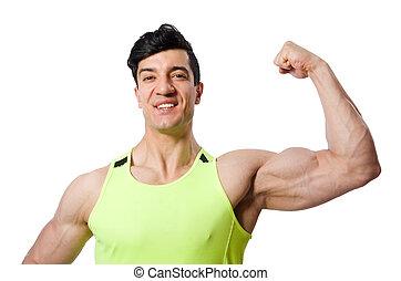 vit, isolerat, muskulös,  man