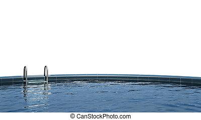 vit, isolerat, slå samman, simning