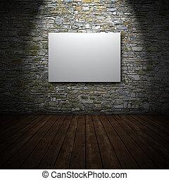 vit, kanfas, på, stena väggen