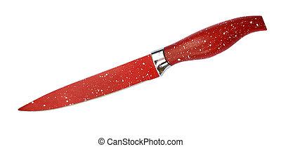 vit, kniv, bakgrund, röd