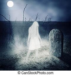 vit, kvinna, spöke, vistelse, på, henne, grav