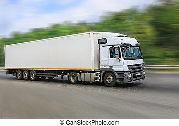vit, lastbil, går, på, den, motorväg