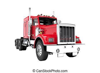 vit, lastbil, isolerat, bakgrund, röd