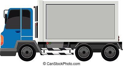 vit, lastbil, isolerat, bakgrund