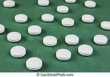 vit, lertavlor, på, a, grön fond