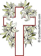 vit, liljor, kors