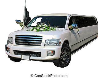 vit, limousine, isolerat, bröllop