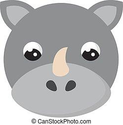 vit noshörning, bakgrund., vektor, litet, söt, illustration