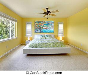 vit, nymodig, bed., gul, sovrum