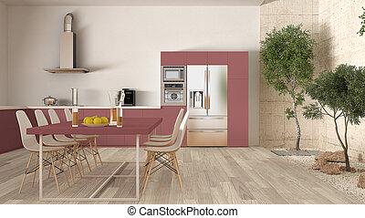 vit, och, röd, kök, med, inre, trädgård, minimal, heminredning