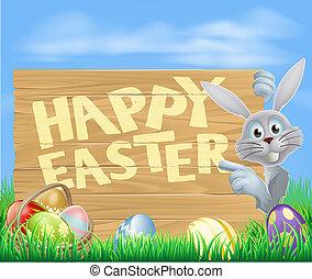 vit, påsk kanin, pekande vid, underteckna