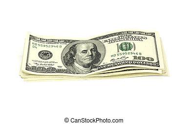 vit, pengar, isolerat, stack