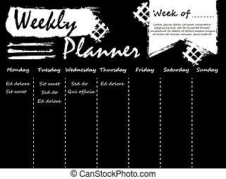 vit, planläggare, svart, mall, varje vecka