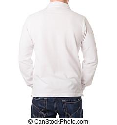 vit, poloshirt, med, a, lång skivfodral, på, a, ung man