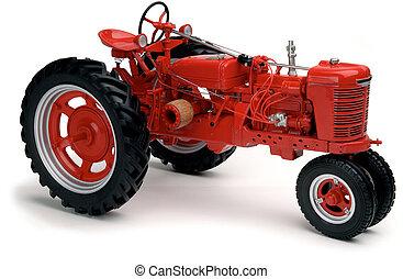 vit röd, traktor