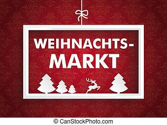 vit, ram, röd, agremanger, jul, marknaden