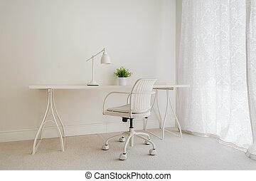 vit, retro, skrivbord