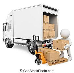 vit, rutor, avlastning, 3, arbetare, folk., lastbil