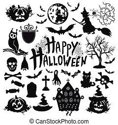 vit, sätta, halloween, bakgrund, ikon