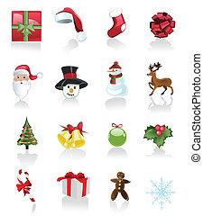 vit, sätta, jul, bakgrund, ikonen