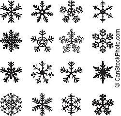 vit, sätta, svart, snöflingor