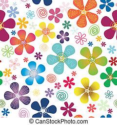 vit, seamless, blom- mönstra