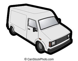 vit, skåpbil