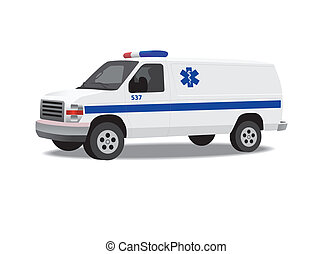 vit, skåpbil, isolerat, ambulans