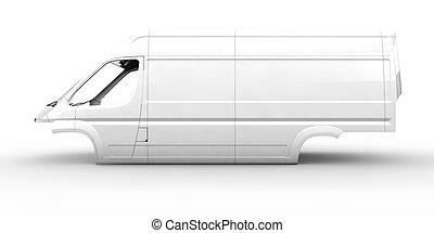 vit, skåpbil, kropp