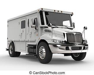 vit, skåpbil, pansrad, transport