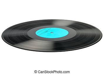 vit, skiva, isolerat, bakgrund, vinyl