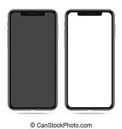 vit, smartphone, tom, svart, avskärma, nymodig