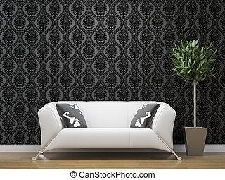 vit soffa, på, svarting och, silver, tapet