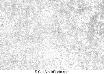 vit, sprickor, gammal, cement, wall.