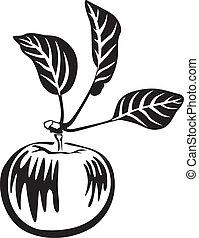 vit, svart, äpple